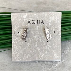 Aqua silver tone pineapple earrings